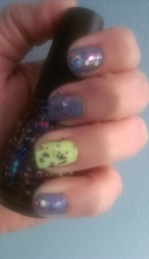 China Glaze What a Pansy (purple), Grass is Lime Greener (green) and Shine-nanigans Top Coat.