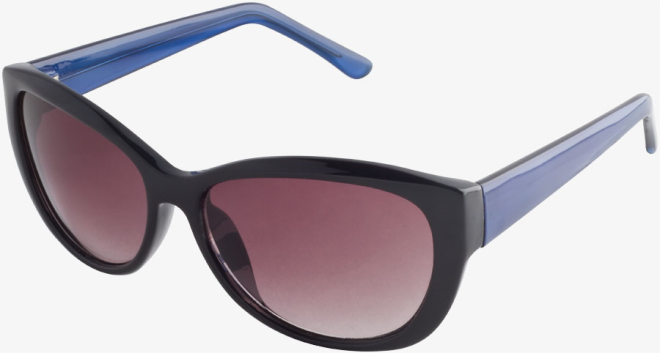 Blue Modern Cat Eye Metallic Temple Sunglasses