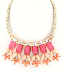 Pink Flower and Coral Rope Necklace