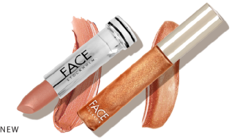 Face Stockholm Lipstick in Glowing and Lipgloss in Shimmer Beach