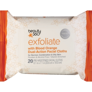 Beauty 360 Exfoliating Dual- Action Facial Cloths with Blood Orange
