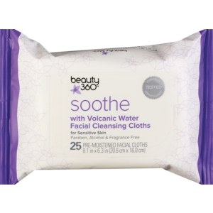 Beauty 360 Soothe Facial Cleansing Cloths with Volcanic Water